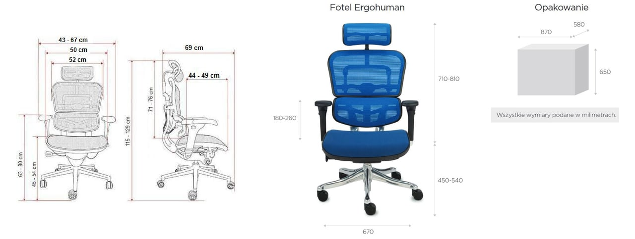 Wymiary fotela Ergohuman