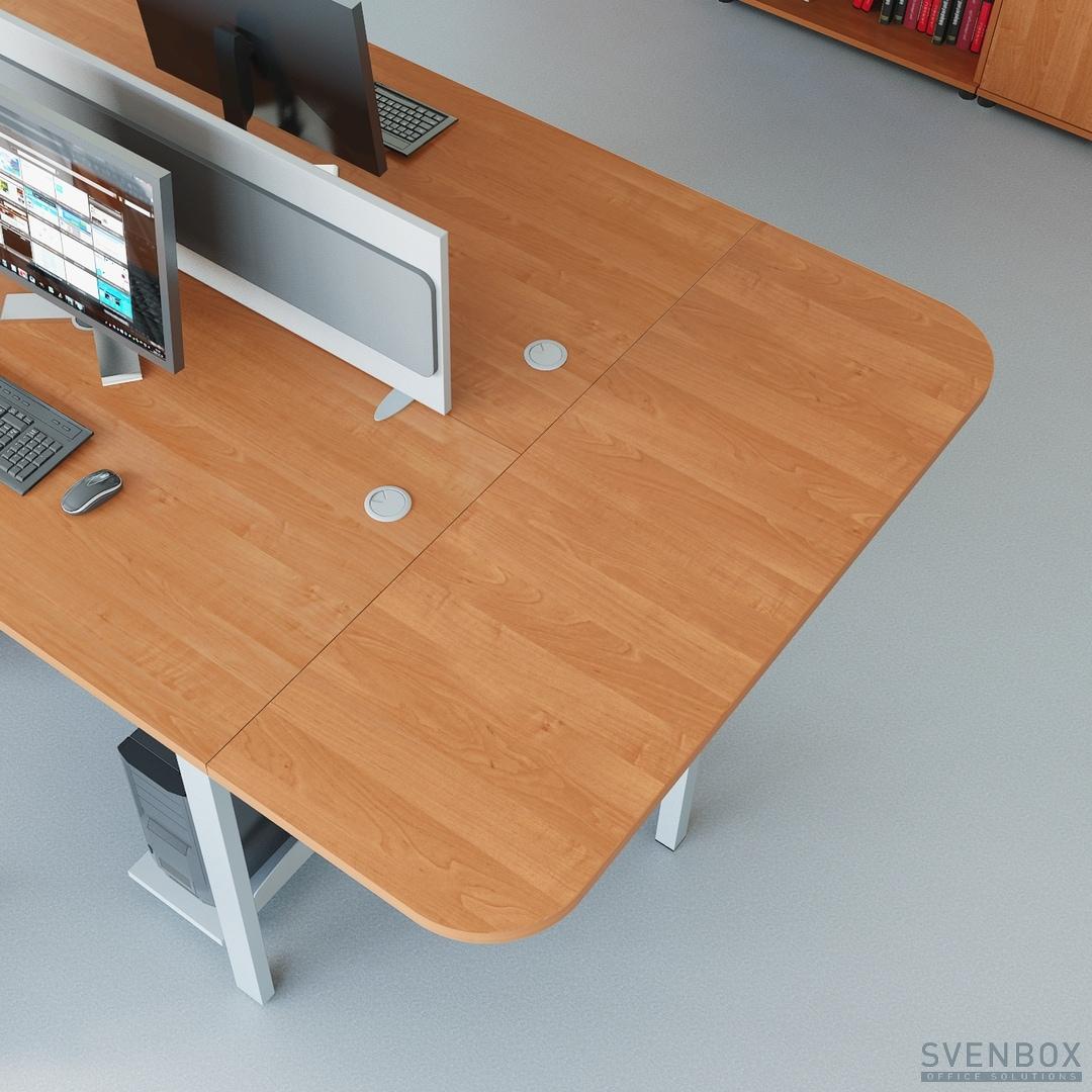 Biurko z dostawką i panelem dzielącym