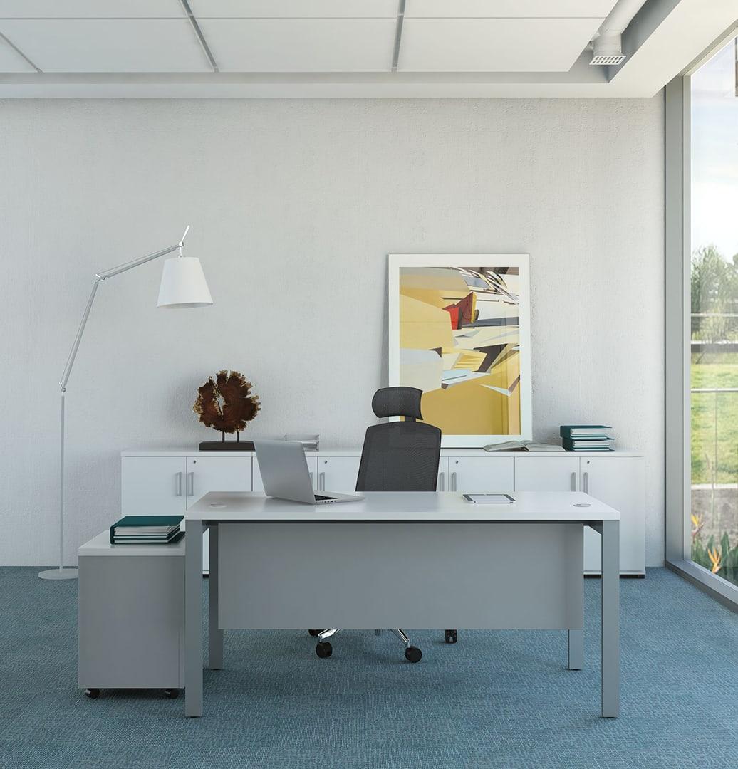 Zestaw mebli biurowych z białym biurkiem Svenbox
