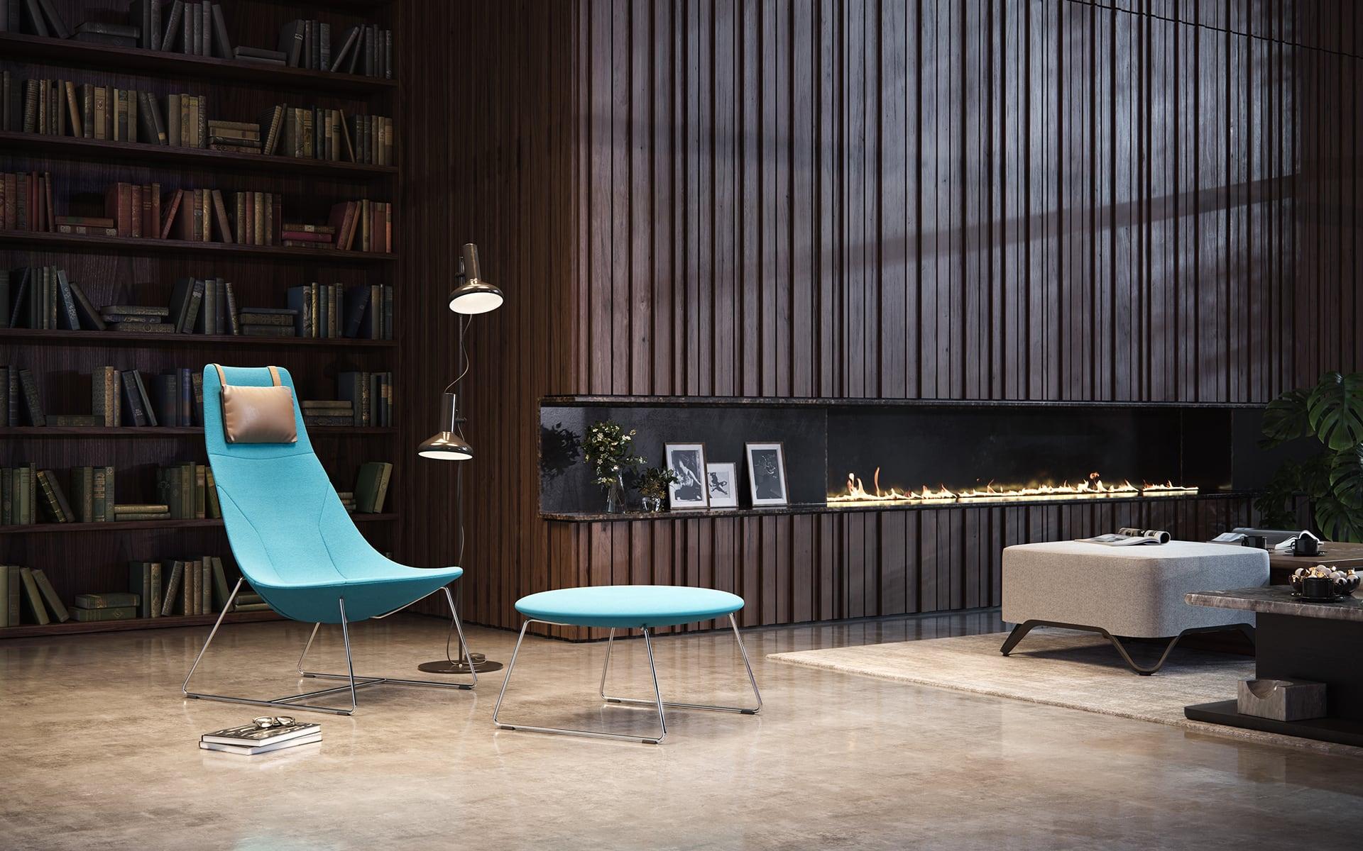 Minimalistyczny fotel wypoczynkowy