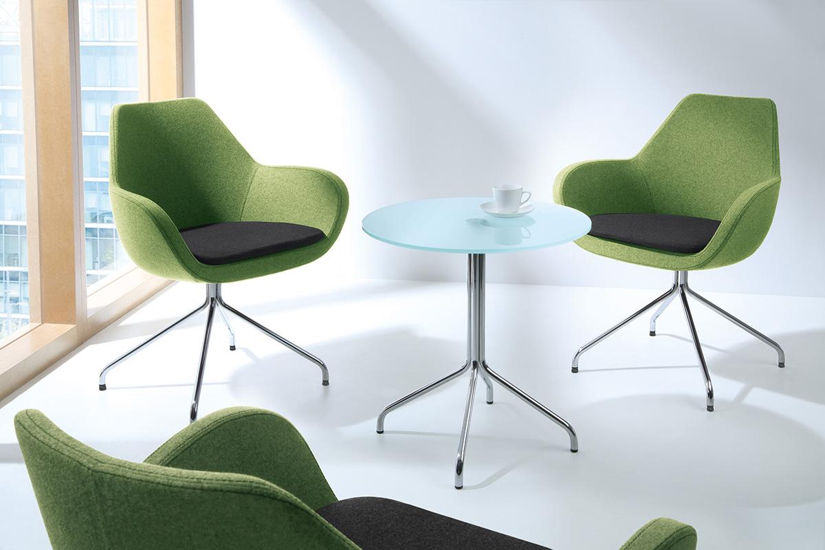 Krzesła stacjonarne biurowe Fan w kolorze zielonym
