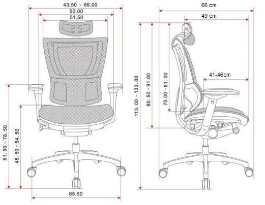 Wymiary produktu Fotel biurowy IOO z podstawką pod laptopa